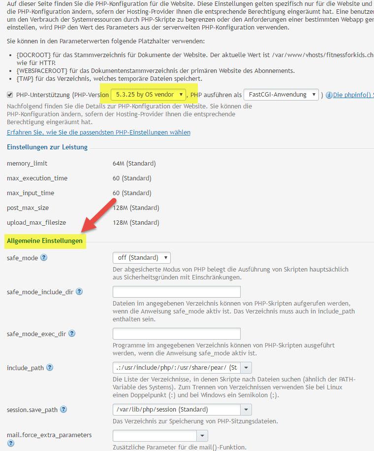 Webhosting PHP Einstellungen