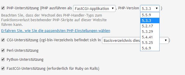 PHP-Version wählen