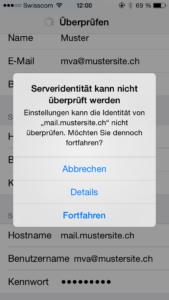 iPhone Serveridentität kann nicht überprüft werden