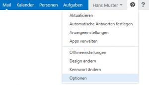 Exchange 2013 Webmail Optionen