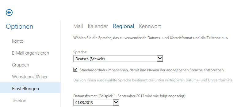 Exchange 2013 Webmail Settings Regional