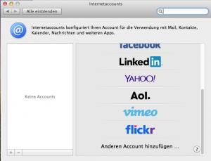 Max OS X Internet-accounts
