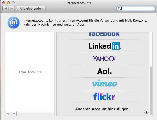 Max OS X Internet-accounts