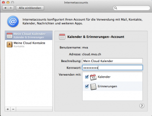 OS X Internetaccounts - Beschriebungen