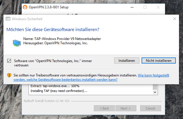 OpenVPN Installation Windows 2012