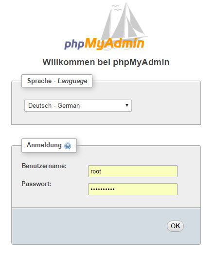 PHPMyAdmin Login-Screen